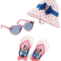 Minnie Mouse Baby Girl UPF 50+ Swim Hat, Sunglasses and Sandals Set, 12-18 Months