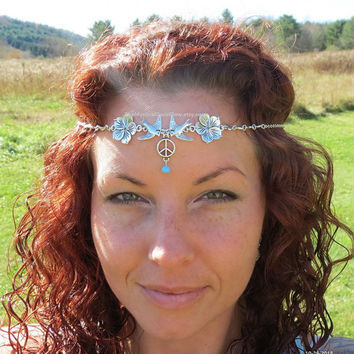 Wedding Circlet, Floral Crown Bridal Headpiece, SIZED, SOLDERED chain Headpiece Silver Circlet Turtle Doves Peace and Love, Peace Sign Heart