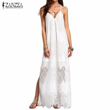 ZANZEA Fashion 2016 Womens Summer Beach Party Dresses Deep V Neck Split Sleeveless White Lace Maxi Long Dress Plus Size S-5XL