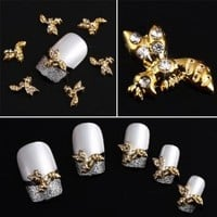 Yesurprise Rhinestones Gold Bee 10 pieces Silver 3D Alloy Nail Art Slices Glitters DIY Decorations