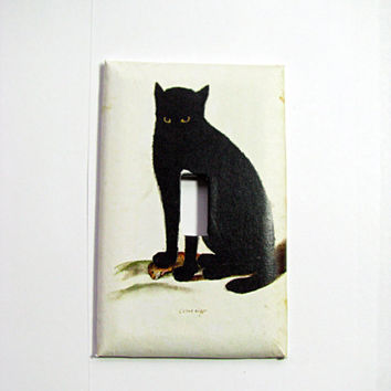 Light Switch Cover - Light Switch Plate Black Cat & Mouse