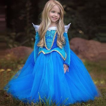 3-8Y Girl Aurora Princess Costume Kids Sleeping Beauty Cosplay Dress Long Sleeve Summer Tutu Halloween Children Birthday Dress