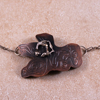 "Roller Printed Copper Necklace with Sterling Silver Accent on 18"" Darkened Sterling Silver Chain"