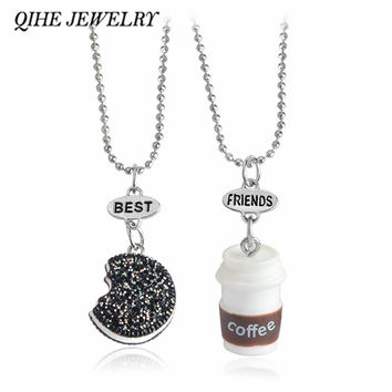 QIHE JEWELRY 2pcs set Kawaii Cookie And Coffee Best Friend Necklace Friendship Necklace Miniature Food Besties Jewelry BFF Gift