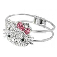 Hello Kitty Silver Face & Bow Bangle Bracelet w/Crystal Rhinestones