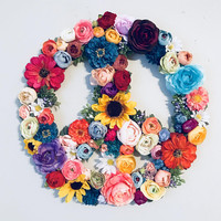 Floral Peace Sign, Peace Sign, Hippie Chic Decor, Boho Nursery Decor, Flower Peace Sign, Floral Wall Hanging, Flower Wall Art, Boho Decor