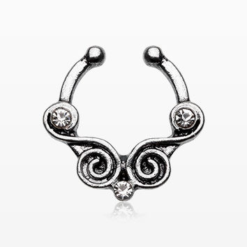 Tribal Kron Sparkle Fake Septum Clip-On Ring