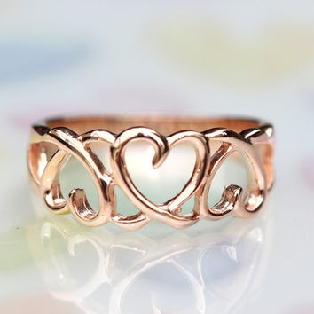Full of love ring / Pure and noble / 925 sterling silver Rose gold / Great enough to express your purity(5,6,7,8,9,10,11,us)