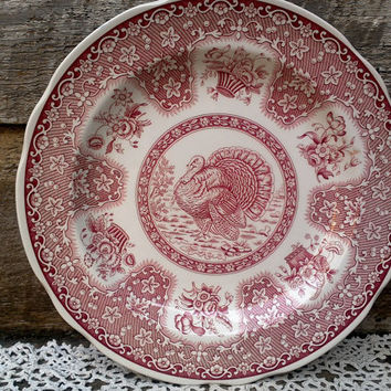 "TURKEY PLATE, Spode Red Transferware Dinner Plate 10"", England Festival, Pink-Red, Display Plate, English, Red Transferware, Holiday Plate"