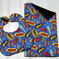Super Hero Comic Book Words Bib and Burp Cloth Set. Great Baby Shower Gift
