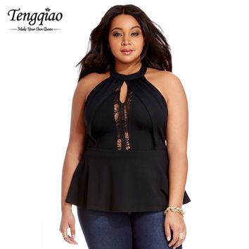 Back Zipper Sexy Lace Tank Tops Strapless Ladies Lace Plus Size Tops Black High Neck Sleeveless Top t Shirt SM6