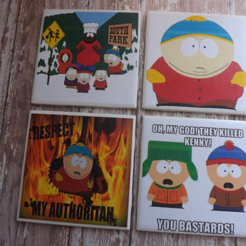 South Park Tile Coasters- Game Room Decor