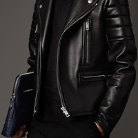 Nappa Leather Biker Jacket with Mink Topcollar