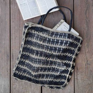 Black Jute Large Tote Bag