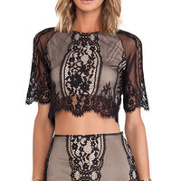 For Love & Lemons Wild Flower Crop Top in Black