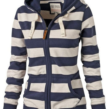 White and Blue Hooded Striped Zippered Hoodie