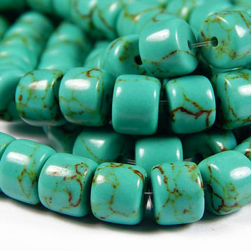 7-1/2 Inch Strand - 10x8mm Natural Turquoise Drum Beads - Rondelle - Gemstone Beads - Jewelry Supplies