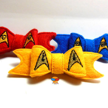 Star Exploration in the Distant Future Science, Command, And Operations inspired 3D felt bow felt clippie physical item made to order