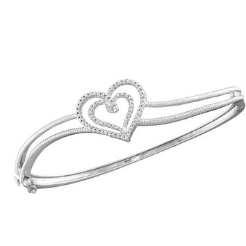 Sterling Silver Women's Round Diamond Double Heart Bangle Bracelet 1-20 Cttw - FREE Shipping (US/CAN)