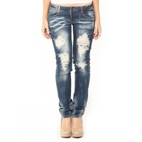 Machine Jeans Ripped Denim  - Premium Denim - Denim Pants - Bottoms