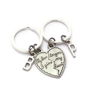 Love Keychains, Halve Heart Keyrings, Custom Key Rings, Initial Accessories, Gift For Long Distance Boyfriend, BFF Gifts, His & His Gift