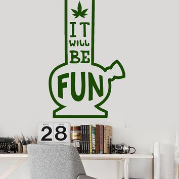 Vinyl Wall Decal Bong Marijuana Hemp Quote Weed Rastafarian Stickers Unique Gift (ig3618)
