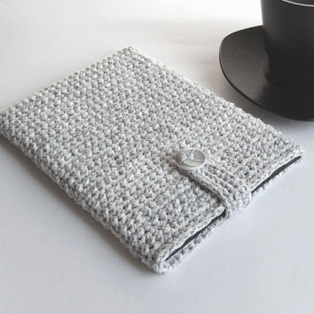 iPad mini case, iPad mini sleeve, Grey cover, iPad mini cover, Samsung Galaxy case, Kindle cover, Nexus case, handmade cover, crochet case
