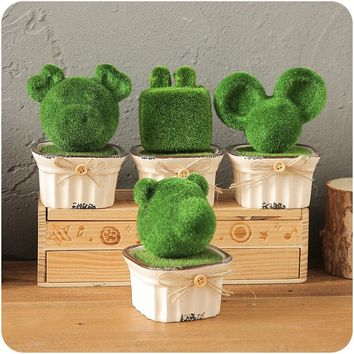 Simulation Animal Pottery Potted Q Plant Green  Artificial Office Desk Table Small Ornaments