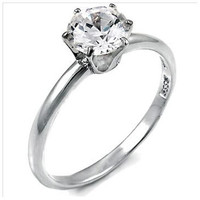 Sterling Silver 1.25 carat Round Cut CZ 6-Prong Set Engagement Ring size 4-11