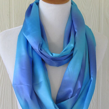 Silky Blue and Purple Infinity Scarf, Women's Fashion Scarf, Circle Scarf, Loop Scarf, Tube Scarf , Women's Scarves, Eclectasie