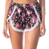 Boho Floral Print Lace Shorts in Black Pink & White
