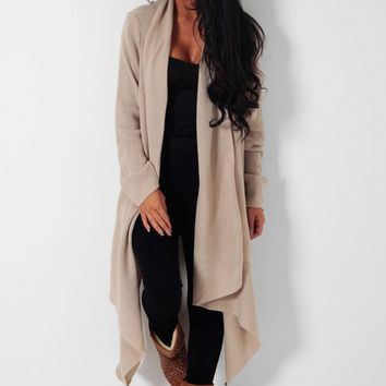 Brandy Snap Nude Draped Waterfall Cardigan | Pink Boutique