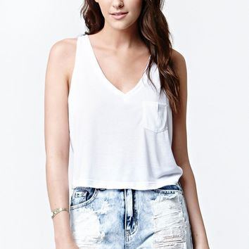 LA Hearts V-Neck Cropped Muscle Tank Top - Womens Tees - White
