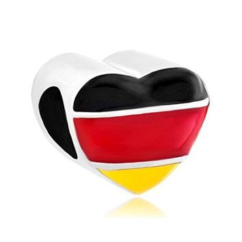 CandyCharms Heart Germany Patriotic Flag Charms Beads For Bracelet