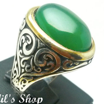 Men's Ring, Turkish Ottoman Style Jewelry, 925 Sterling Silver, Authentic Gift, Traditional, Handmade, With Agate Stone, US Size 12, New
