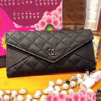 PEAPUF3 Chanel Women Zipper Leather Purse Wallet Satchel bag Black