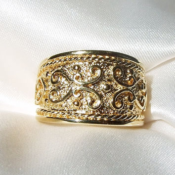Vintage 18k Yellow Gold Vermeil Etruscan or Byzantine Cigar Band Style Ring, Wedding Band, Eternity Ring