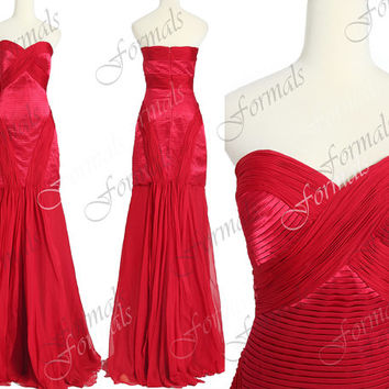 Mermaid Strapless Long Chiffon and Satin Red Prom Dresses, Red Evening Dresses, Long Prom Gown, Red Carpet Dresses