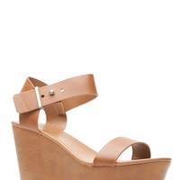 Chestnut Faux Leather Clog Wedges