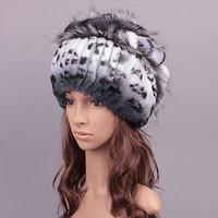 Winter women rex rabbit fur hat with fox fur flowers skullies knitted beanies 2016 new fashion good quality ladies real fur caps