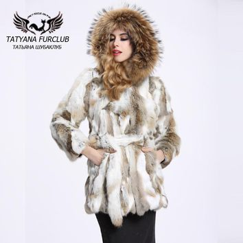 Vintage Winter Rabbit Fur Coat With Raccoon Hood