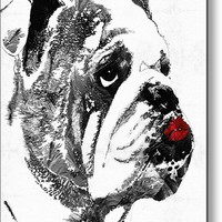 Bulldog Pop Art - How Bout A Kiss 2 - By Sharon Cummings Metal Print
