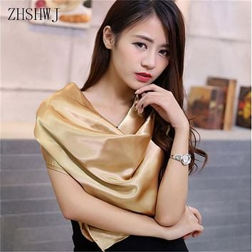 [ZHSHWJ] 90cm * 90cm Women's scarf solid color fashion scarf sunscreen hooded anti-silk gorgeous scarf free shipping