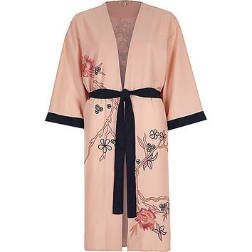 Pink floral embroidered belted kimono
