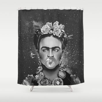 Frida kahlo Space Shower Curtain by lostanaw