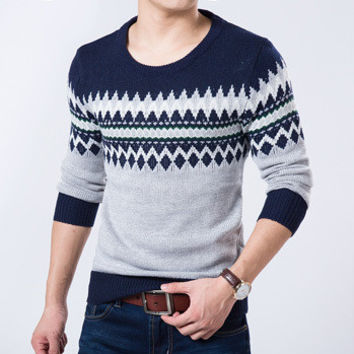 Men Famous Sweater Casual Man Slim Fit Wool Knitted O-Neck Sweater Pullovers BL