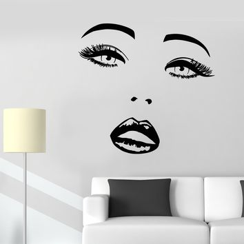Vinyl Wall Decal Sexy Girl Face Makeup Lips Eyes Beauty Salon Stickers (2309ig)