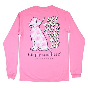 Long Sleeve Preppy Mutt Tee in Flamingo by Simply Southern