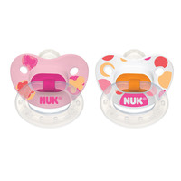 NUK Nature BPA Free 6+ Month Silicone Pacifier 2 Pack - Girl
