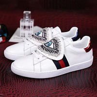 GUCCI Embroidery Women Fashion Old Skool Flats Shoes